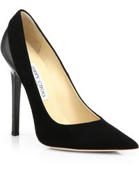 Jimmy Choo Kayomi Suede & Patent Leather Point-Toe Pumps - Lyst