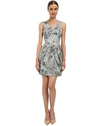 Vera Wang Printed Stretch Viscose V-Neck Sleeveless Dress W/ Tulip Skirt - Lyst