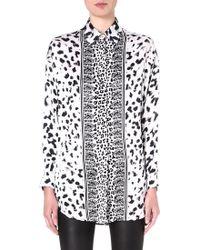 Versus  Leopardprint Silk Shirt Whiteblack - Lyst