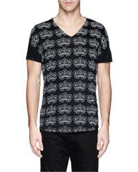 Ann Demeulemeester Leaf Print Slub Cotton Jersey T-Shirt - Lyst