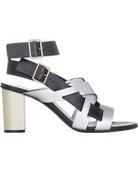 Jil Sander Metallic Multi Strap Sandals - Lyst