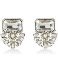 River Island Faux Pearl and Diamante Earrings - Lyst
