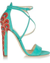 Brian Atwood Sonya Embellished Suede Sandals - Lyst