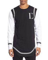 Civil Regime - 'running Stitch' Longline Long Sleeve Crewneck T-shirt - Lyst