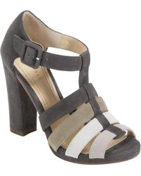 Cole Haan Suede Colorblock T-Strap Sandals - Lyst