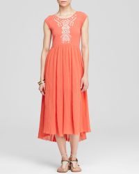 Free People Dress - Meadows Embroidered Midi - Lyst