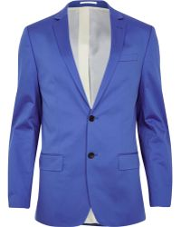 River Island Cobalt Blue Slim Suit Jacket - Lyst