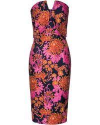 Zac Posen | Strapless Floral Jacquard Print Sheath Dress | Lyst