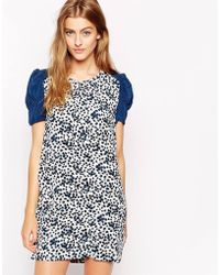 Dress Gallery - Ditsy Print Shift Dress with Contrast Sleeves - Lyst