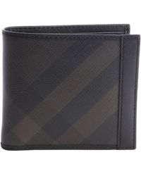 Burberry Brown and Black Coated Canvas Nova Check Pattern Leather Trimmed Bifold Wallet - Lyst