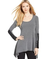 Karen Kane Faux-leather-panel Top - Lyst