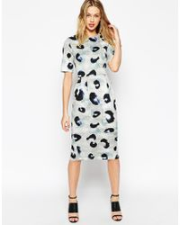 Asos Wiggle Dress In Animal Print - Lyst