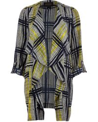 River Island Black Abstract Check Waterfall Jacket - Lyst