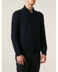 Giorgio Armani Blue Textured Sweater - Lyst