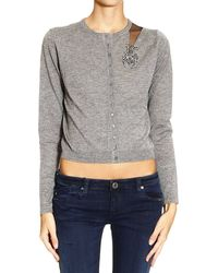Armani Jeans Sweater Cardigan with Embroider Y Scarabeo Paillettes - Lyst