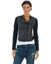 Free People Vegan Leather Accented Moto Jacket - Lyst