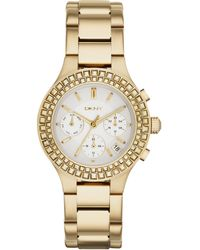 DKNY Womens Chambers Gold Ion-plated Stainless Steel Bracelet Watch 38mm - Lyst