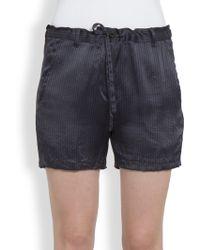 Ann Demeulemeester Striped Silk Shorts - Lyst
