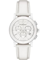 Burberry Womens Swiss Chronograph White Leather Strap 38mm - Lyst
