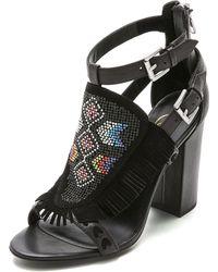 Ash Ottawa High Heel Fringe Sandals - Black - Lyst