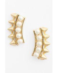 Rebecca Minkoff Faux Pearl & Spike Stud Earrings - Lyst