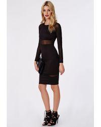 Missguided Scuba Mesh Sleeve Midi Dress Black - Lyst