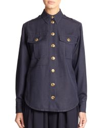 Marc Jacobs Silk Military Shirt blue - Lyst