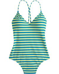 J.Crew Striped One-Piece Swimsuit green - Lyst