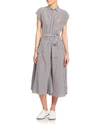 Bottega Veneta Belted Gingham Shirtdress blue - Lyst