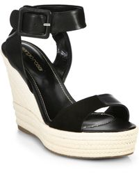 Sergio Rossi Eleanor Suede And Leather Espadrille Wedge Sandals - Lyst