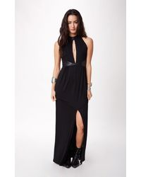 Blessed Are The Meek Points Faux Leather Trim Maxi Dress - Lyst