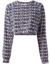 Lulu & Co - Cropped Text Print Blouse - Lyst
