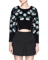 Helen Lee - Sequin Floral Embellished Wool Felt Sweater - Lyst