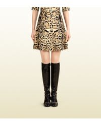 Gucci Leopard Print Calf Hair Flared Skirt - Lyst