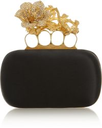 Alexander McQueen Knuckle Small Swarovski Crystalembellished Satin Box Clutch - Lyst