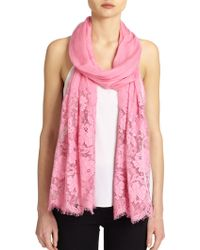 Valentino Roses Lace Cashmere & Modal Shawl pink - Lyst