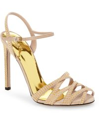 Gucci Beige Studded Suede Sandals - Lyst