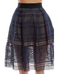 Self-Portrait | Sofia Embroidered Knee Length Skirt | Lyst