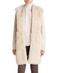 Vince Long Leather & Fur Coat beige - Lyst
