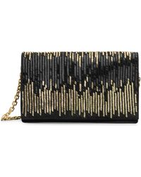 Calvin Klein Collection Suede Beaded Clutch With Chain Strap - Lyst