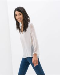 Zara Combination Blouse - Lyst
