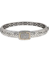 Lord & Taylor - Diamond, 14k Yellow Gold And Sterling Silver Bangle Bracelet - Lyst