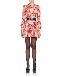 Saint Laurent Floral Flared Dress red - Lyst