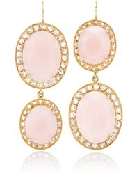 Andrea Fohrman Unique Oval Pink Opal Earrings with Rosecut Diamonds - Lyst