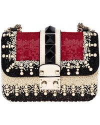 Valentino Glam Lock Embellished-Leather Shoulder Bag - Lyst