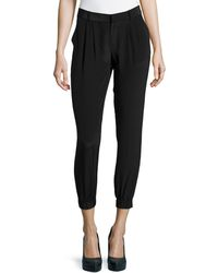 Joie Slouchy Cropped Silk Pants - Lyst