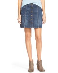 Jolt - Button Front Denim Miniskirt - Lyst