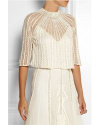 Temperley London Crivelli Embellished Embroidered Tulle Top - Lyst