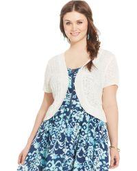 American Rag Plus Size Short-Sleeve Open-Front Cardigan - Lyst