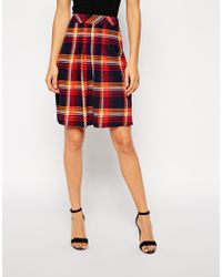 Asos Knee Length Skirt In Plaid Print With Pleat Front - Lyst